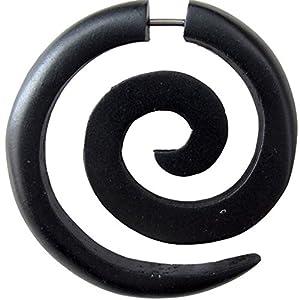 Fake Spirale Lobe Piercing Edelstahl Ohrstecker Dehnschnecke Holz Ohrring Dehner |Dehnspirale unisex Frauen Männer |6mm 8mm Chirurgenstahl Steckverschluss Schraubverschluss Ohr