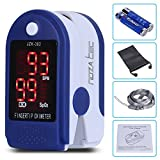 Noza Tec Pulse Oximeter Finger Pulse Blood Oxygen Saturation Heart Rate SpO2 Monitor with Carrying bag, Landyard & Battery (Blue)
