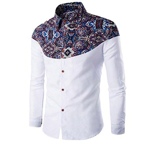 Herren Hemd,Sannysis Männer Mode Printing Herren Langarm T-Shirt (M, Weiß)