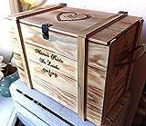 Große Baby Erinnerungskiste Vintage aus Holz mit Wunschmotiv - Babygeschenk personalisiert - Erinnerungsbox mit Gravur - Hochzeitskiste - Hochzeitstruhe