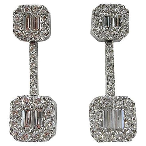 Boucles d'oreilles or diamant coupe baguette