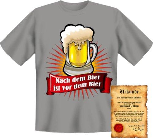 Funshirt + gratis Spaß Urkunde - Motiv Nach dem Bier ist vor dem Bier witzig lustig cool Spruch Grau