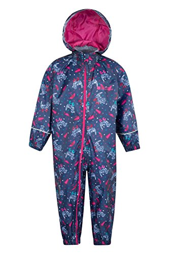 Mountain Warehouse Puddle Kids Printed Waterproof Rain Suit Bright Pink 12-18 months