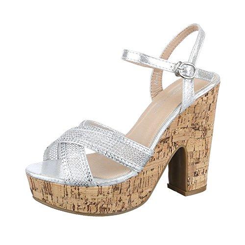 Elf Silber Kostüm - Ital-Design High Heel Sandaletten Damen Schuhe Plateau Pump Plateau Schnalle Sandalen/Sandaletten Silber, Gr 39, Bo-11-