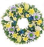 Osterkranz Türkranz Frühlingskranz mit Blumen Bunt schöne Osterdekoration Osterei 25 cm Handgemacht NEU!