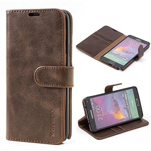 Mulbess Ledertasche im Ständer Book Case / Kartenfach für Samsung Galaxy Note 4 Tasche Hülle Leder Etui,Vintage Braun