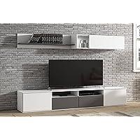 LIQUIDATODO ® - Muebles de salon modernos y baratos en color blanco/grafito - boreal