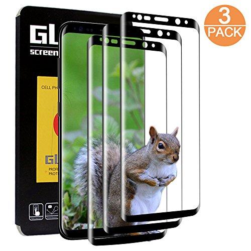 [3 Piezas]Protector de Pantalla para Samsung Galaxy S8/S9,Jwlife Cristal Templado para Samsung Galaxy S8/S9 Ultra-transparente,Sin Burbujas,Resistente a Arañazos,9H Dureza,Cobertura completa(Negro)