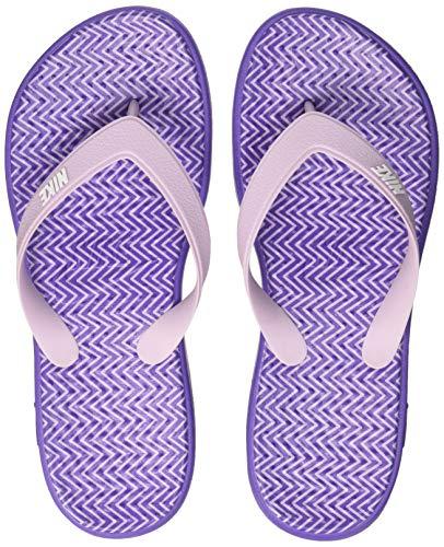 Nike Damen WMNS SOLAY Thong Print Flache Hausschuhe Violett (Dark Iris/iced Lilac/White) 40.5 EU