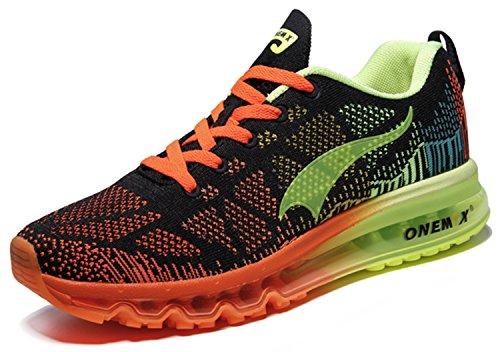 finest selection bb0d3 d0849 Onemix Men Lightweight Mesh Flexible Air Cushion Sport Running Shoes Black  fluorescent green 6.5 D(