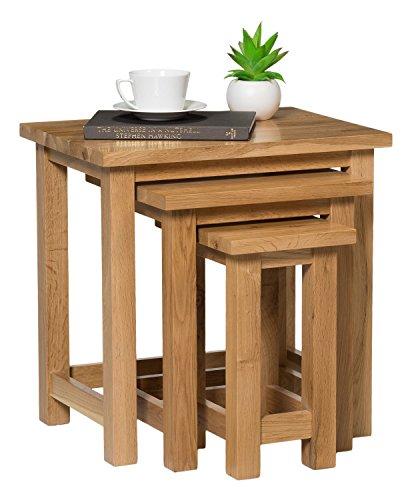 Eiche Stapelbar (Waverly Tische aus heller Eiche, stapelbar, Massivholz, Beistelltisch, Abstelltisch, Tischset)