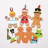 Baker Ross Kits Decoraciones combinables muñeco de jengibre (Pack de 6) para manualidades y decoraciones navideñas infantiles