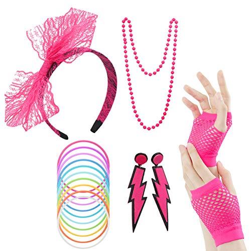 LADES 80er Jahre Kostüm Zubehör - Damen 80er Party Kostüm Zubehör Neon Halsketten Stirnband Beinlinge Perlen Halsketten Armbänder Fischnetz Handschuhe für Mädchen Frauen Night Out Party (Pink 2)