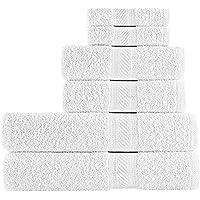 SweetNeedle - Lot de 6 serviettes à usage quotidien, Blanc- 2 serviettes de bain 70x140 CM, 2 serviettes à main 50x90 CM…