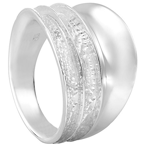 Vinani Design Ring breit 3 fach gewölbt gehämmert glänzend Sterling Silber 925 Größe 58 (18.5) 2RBV-58 - Größe Sterling Silber Aus 3-ring