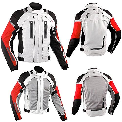 Giacca Moto Tessuto Mesh Protezioni CE Impermeabile 4 Stagioni Bianco/Rosso S
