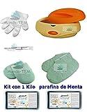 mundo-tem ® Scalda Paraffina fornello di + Kit completo, 1Kilo paraffina di menta, regalo: Manuale breve per il trattamento della paraffina.