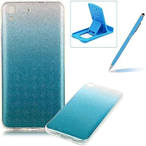 Huawei Y6 Caja de goma de silicona resistente a los arañazos,Huawei Y6 Ajuste perfecto La caja del gel de parachoques suave,Herzzer Luxury Elegante [Gradiente de color luz de las estrellas] Piel del arco iris del brillo de la jalea ligero flexible Gel Shell protector de la contraportada para Huawei Y6 + 1 x Azul pata de cabra + 1 x Azul Lápiz óptico - Azul