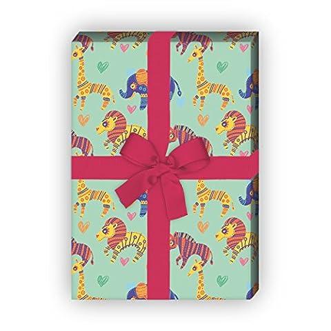 Schönes Kinder Geschenkpapier in ethno Tieren für tolle Geschenk Verpackung und Überraschungen (4 Bogen, 32 x 48cm), auf grün