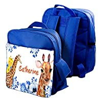 Personalised Back to School Themed Customised Funny Giraffe Kids Toddlers Nursery-New Year of School Bag-Backpack.