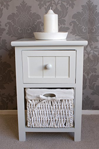 Whitehaven Wooden 1 Drawer + 1 Basket Bedside Unit Chest in Gloss White Painted Finish, Farmhouse Style