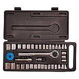 """GWUK - Set di chiavi a bussola da viaggio in pratica valigetta con manico a cricchetto da 3/8"""", estensione, adattatore da 1/4"""" (M) a 3/8"""" (F), disco rotante e selezione di prese metriche e imperiali"""