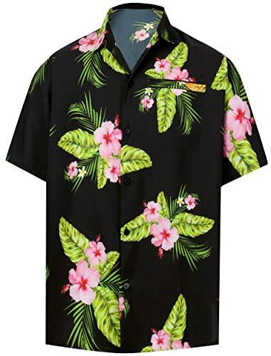 HAPPY BAY Funky hawaiihemd Hawaiian Hemd Beach Hemd Kurzarm 3D HD Männer Strand Hemdkragen-Taste gedrückt übergröße Aloha XL Schwarz_W606 -