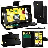 ebestStar - Etui Nokia Lumia 520 - Housse Coque Etui Portefeuille Support PU Cuir + Stylet tactile, Couleur Noir [Dimensions PRECISES de votre appareil : 119.9 x 64 x 9.9 mm, écran 4'']