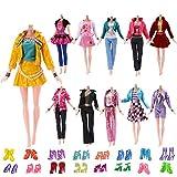 Yomon 5 Pezzi Vestiti Moda Ufficio Abiti con 10 Paia di Scarpe per Barbie Piccoli Regali per Bambini