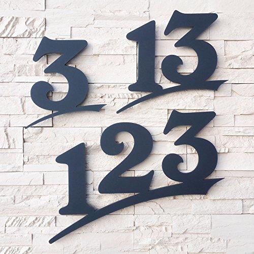 Hausnummer ( 2-stellig / 20cm Ziffernhöhe ) in Anthrazit-grau, schwarz oder weiß, 6mm stark aus Acrylglas - Original ALEZZIO Design - Rostfrei, UV-beständig und abwaschbar, Anthrazit wie Pulverbeschichtet RAL 7016, alle Ziffern und Buchstaben möglich von 1-999, a b c d e f mit Montageschablone