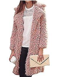 YOGLY Chaqueta de Mujer Invierno Abrigos Cárdigan Moda Fluffy Shaggy Escudo de Lana de Abrigo de