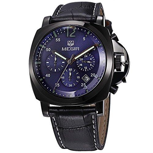 Alpi da uomo Luxury Sport Cronografo Multifunzione Nero Custodia impermeabile orologi in vera pelle NERO