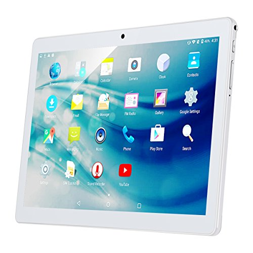 """Price comparison product image 10.1"""" Inch Android Tablet PC, QIMAOO 2GB RAM 32GB Storage Phablet Tablet Quad Core Unlocked 3G Cell Phone Tablets, Dual Camera Sim Card Slots, Wifi, GPS, Bluetooth 4.0,1280x800 HD IPS Screen Display, Google Play (Silver)"""