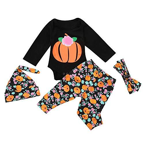 sunnymi Für 0-2 Jahre 4 tlg Tops + Hosen + Hut + Stirnband Baby Halloween Kostüm Set (24 Monate, Schwarz 1)