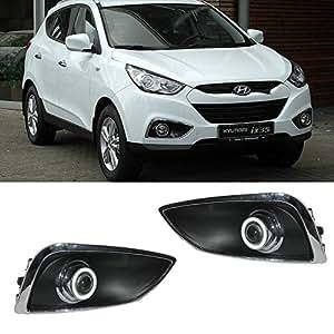 eeMrke EE-FR2015-AE5091 LED Angel Eye Voiture drl E13 H3 55W ampoules halogène feux de brouillard pour Hyundai IX35 IX 35