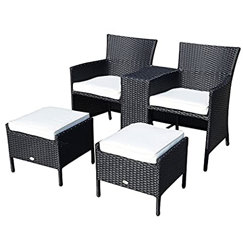 Year-end Clearance Outsunny RATTAN Sofa Chair Set Wicker Weave Outdoor Garden Furniture Companion Sofa SOFA CHAIR & STOOL SET FIRE RESISTANT Sponge Already Assembled