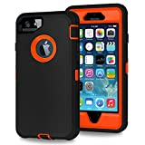 Xylo® Dual Protect Heavy Duty Dust/Shock Proof Case Cover For Apple iPhone SE, 5S & 5 With Built In Screen Protector - Black & Neon Orange