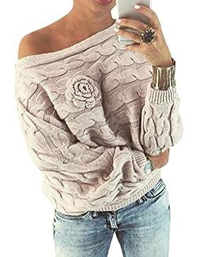 Zehui Jersey de Moda de Mujer, Suéter de Flor Color sólido de Manga de murciélago de Mujer Espesar suéter de otoño...
