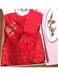 SHISHANG Set de cadeaux pour bébés Boîte cadeau Boy Girl Cadeaux pour bébés pour 0-9 mois Nouveau-né 100% coton Four Seasons Sac cadeau Boîte cadeau pleine lune Rouge Rose , B