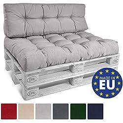 Beautissu ECO Style Coussins pour Canape Euro Palette - Dossiers - 120x40x15 cm - Gris Clair