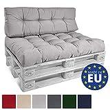 Beautissu Cuscino per spalliera di divani per bancali Eco Style - 120x40x10-20 cm Schienale per Divano - Grigio Chiaro
