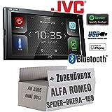 Alfa Romeo 159 Spider Brera Navi - Autoradio Radio JVC KW-M540BT - Bluetooth MP3 USB TFT Weblink Waze Control MKV WMV AAC FLAC - Einbauzubehör - Einbauset