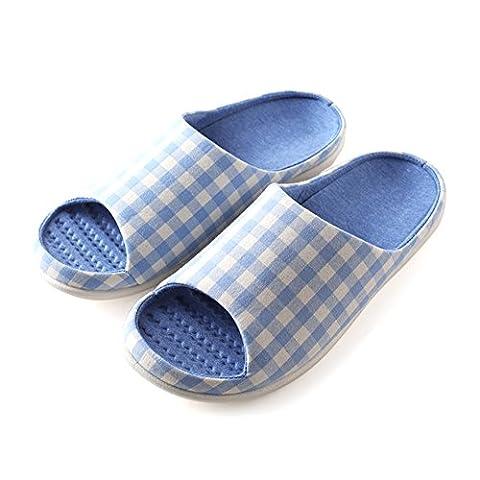à enfiler Chaussons Antidérapant Bout ouvert Sandale Coton et lin Mules Absorbe la transpiration Lin Chaussures pour adulte, bleu