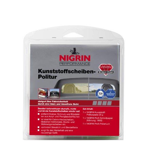 NIGRIN 73914 RepairTec Acryl-und Plexiglas Politur-Set: 1 x NIGRIN Kunststoff-Politurpaste 25 g, 1 x NIGRIN Profi -Schleifpapier (Körnung: 1600), 1 x NIGRIN Profi -Poliertuch