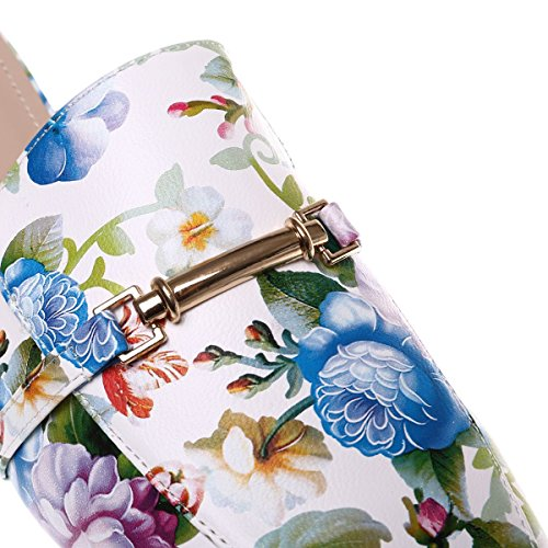 La Modeuse Mocassins Grande Taille Imprimé Fleuris avec Arrière Ouvert Blanc