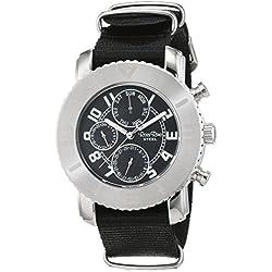 Ross Rino Chamäleon (Sternbild) Unisex Quarzuhr mit Grau/Schwarz Zifferblatt Analog-Anzeige und schwarz Nylon Armband