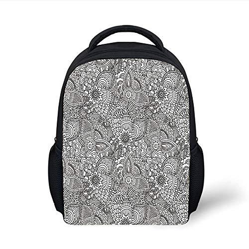 Kids School Backpack Henna,Monochrome Design Ethnic Cultural Pattern Intricate Mehendi Swirls Asian Leaves Decorative,Black White Plain Bookbag Travel Daypack