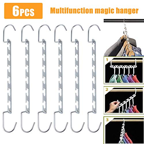 Kleiderbügel Organizer Multi Function Metal platzsparende Wandschrank Magic Hanger Rack (Size : 6PCS)
