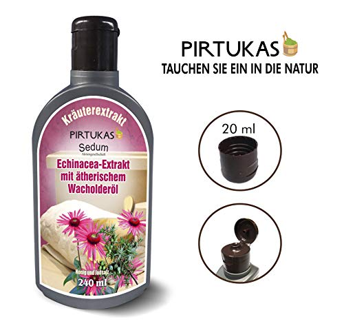 Sedum Natürlicher Saunaaufguss - Sauna-Öle für Sauna und Massage - Sauna-Aufguss Echinacea-Extrakt mit ätherischem Wacholderöl, Honig und Jodsalz - 240ml -