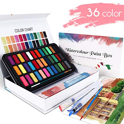 WOSTOO Aquarellfarben Set mit 50 Verschiedenen Aquarellfarbkasten Hochwertiges Aquarell-Farben-Set 2 Pinsel,36 lebendige Farben,2 Wassertankpinsel,10 Aquarellpapier-Malkasten für Anfänger und Profis